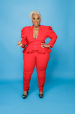 Red Plunging Peplum Jumpsuit