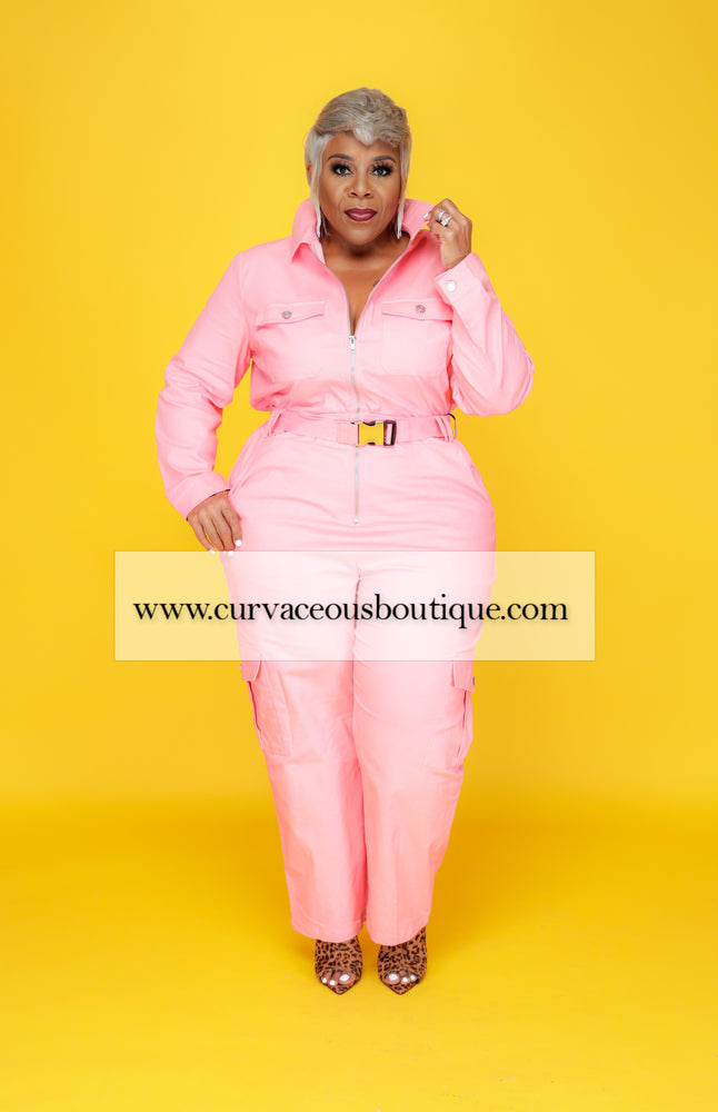 Pink Utility Tapered Jumpsuit