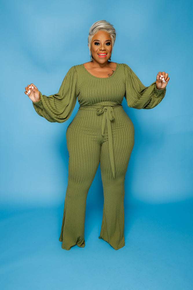 Olive Green Ribbed Bell Jumpsuit