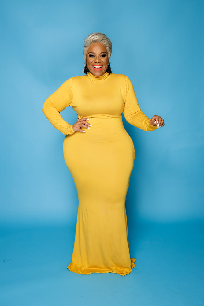 Mustard Lala Turtleneck Maxi Dress