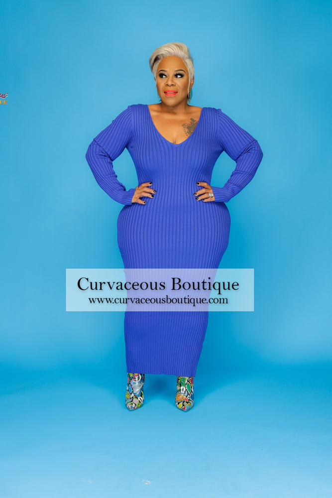 Royal Blue Tierra Ribbed Dress