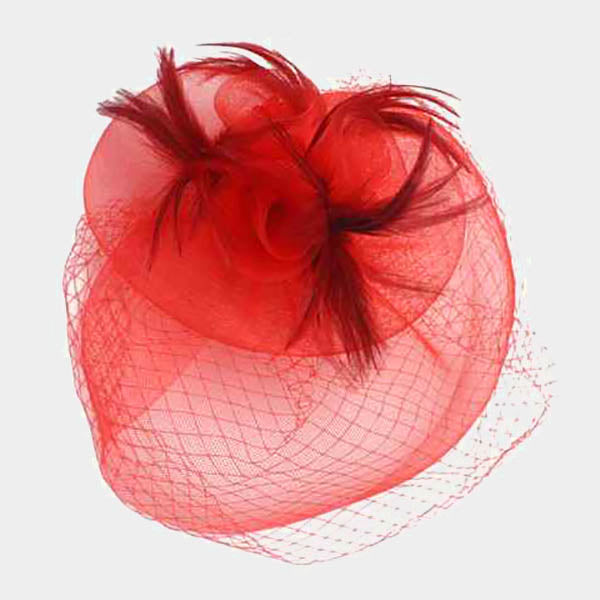 Red Veil Feather Fascinator