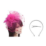Pink Veil Feather Fascinator