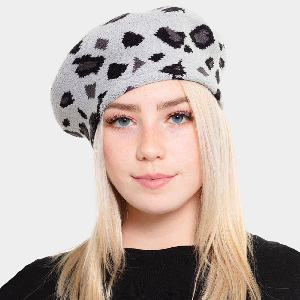 Gray Leopard Stretchy Beret