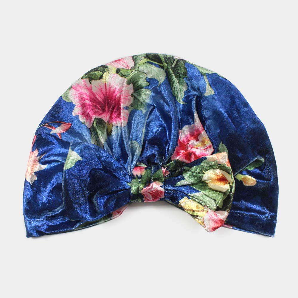 Royal Blue Floral Velvet Knot Turban