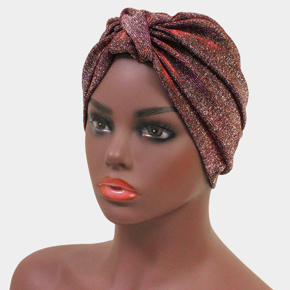 Red Glitter Knot Turban  Curvaceous Boutique-3116