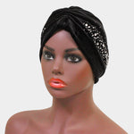 Black Velvet Stone Embellished Turban
