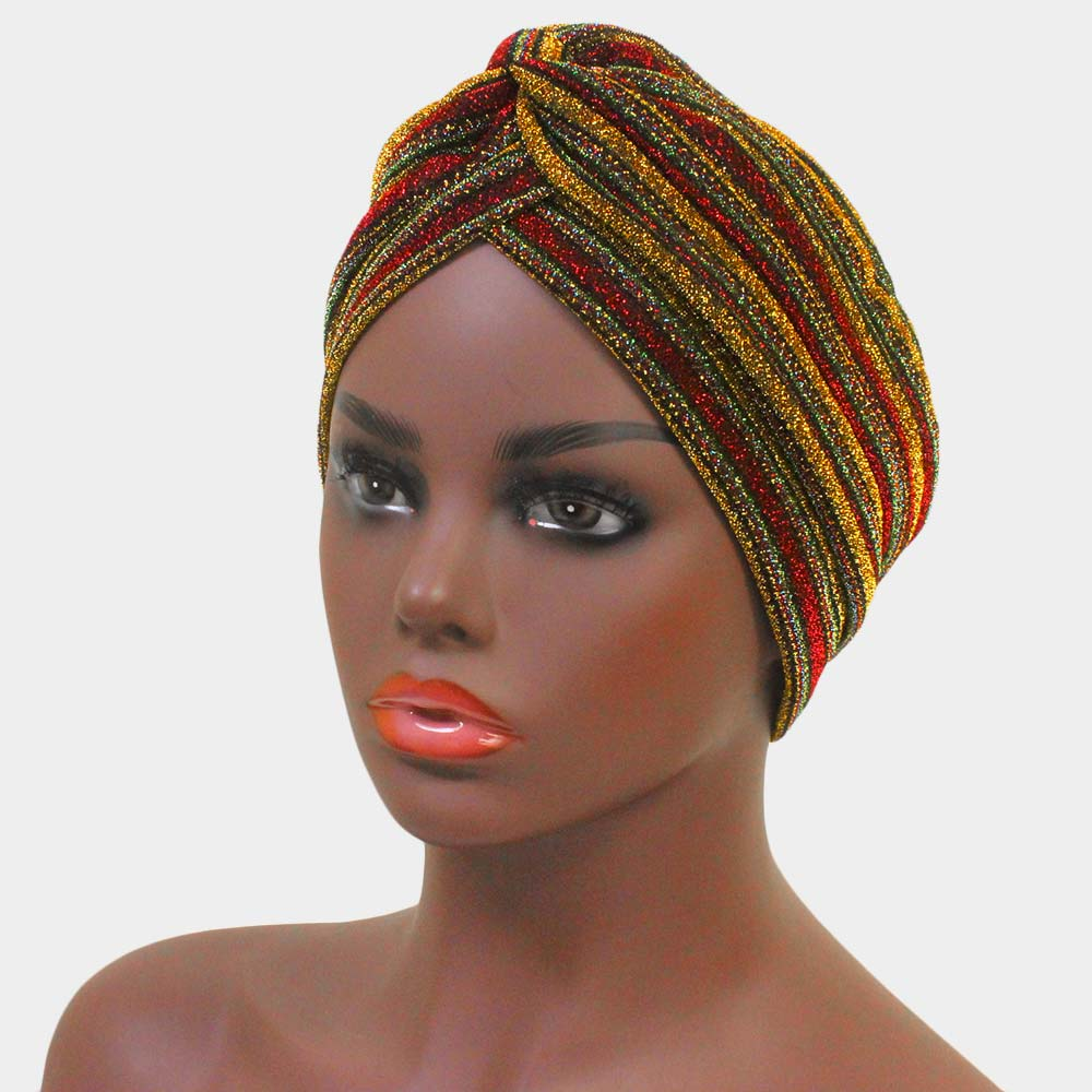 Yellow Multiple Stripe Turban