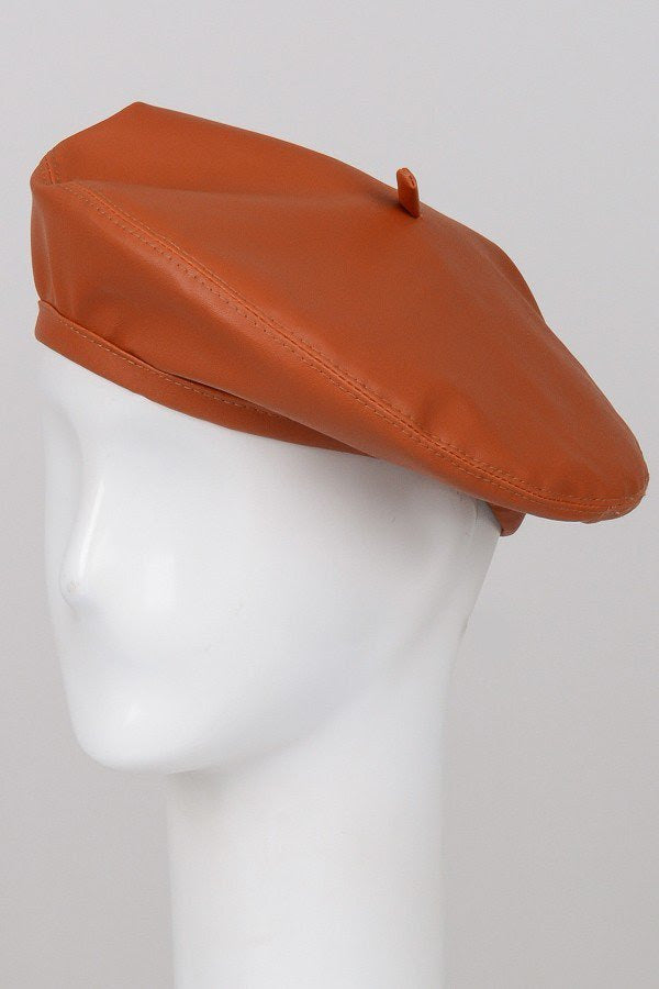 Brown Faux Leather Beret