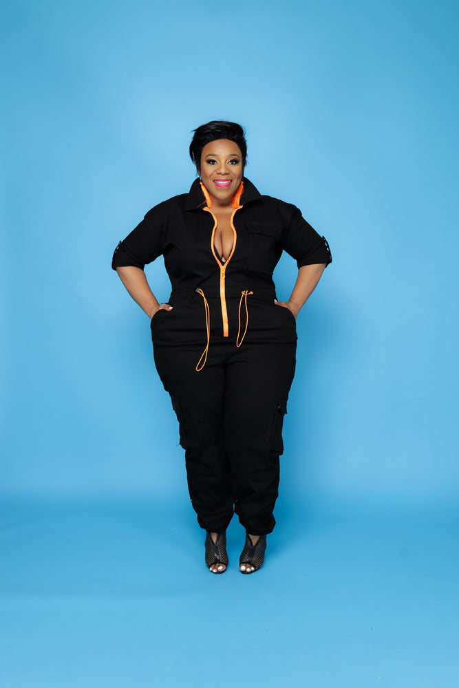 Black/Orange Zipper Jumpsuit