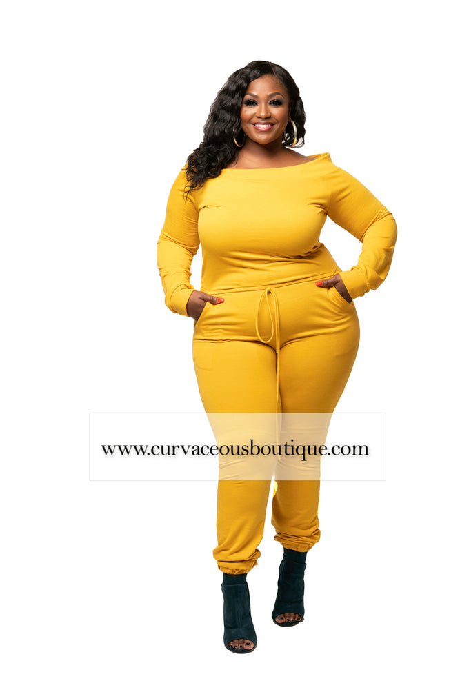 Mustard Jerrie Off Shoulder Jumpsuit