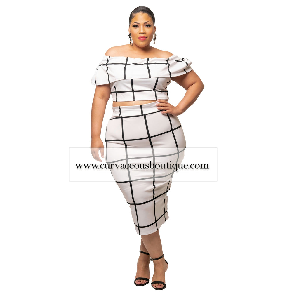 White Grid Skirt Set