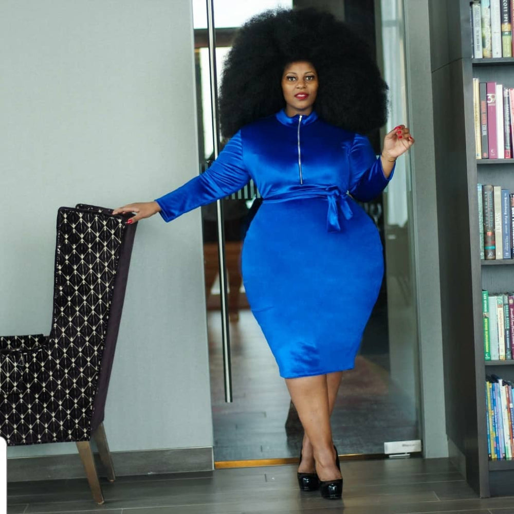 Blue Gia Velvet Dress