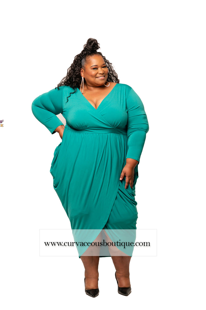 Extended Size Jade Plunging Goddess Dress