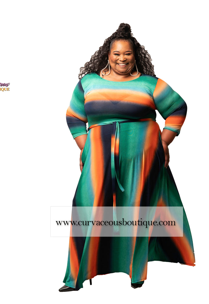 Extended Size Orange Stripe Gabby Maxi Dress