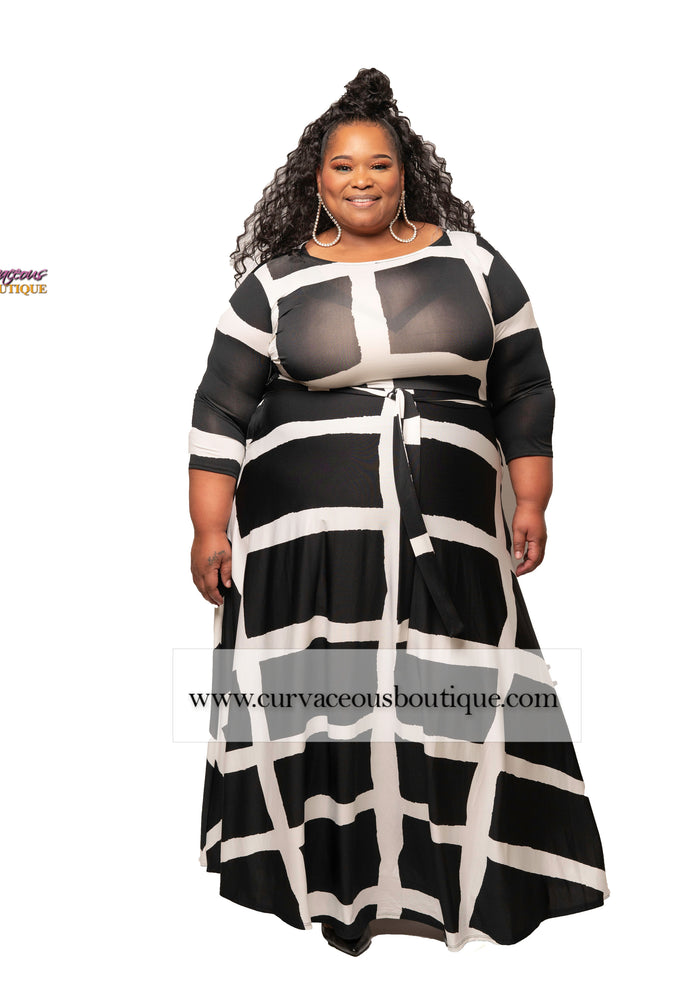 Extended Size Black Abstract Gabby Maxi Dress