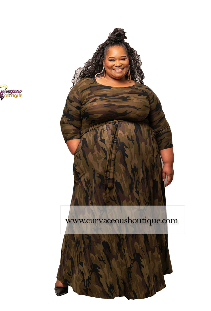 Extended Size Dark Camouflage Gabby Maxi Dress