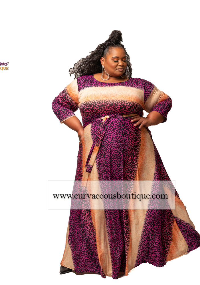 Extended Size Magenta & Coral Gabby Maxi Dress