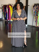 Black /Cream Polka Dot Grace Wrap Dress