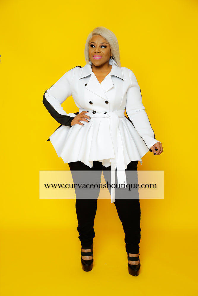 White & Black Eden Peplum Jacket