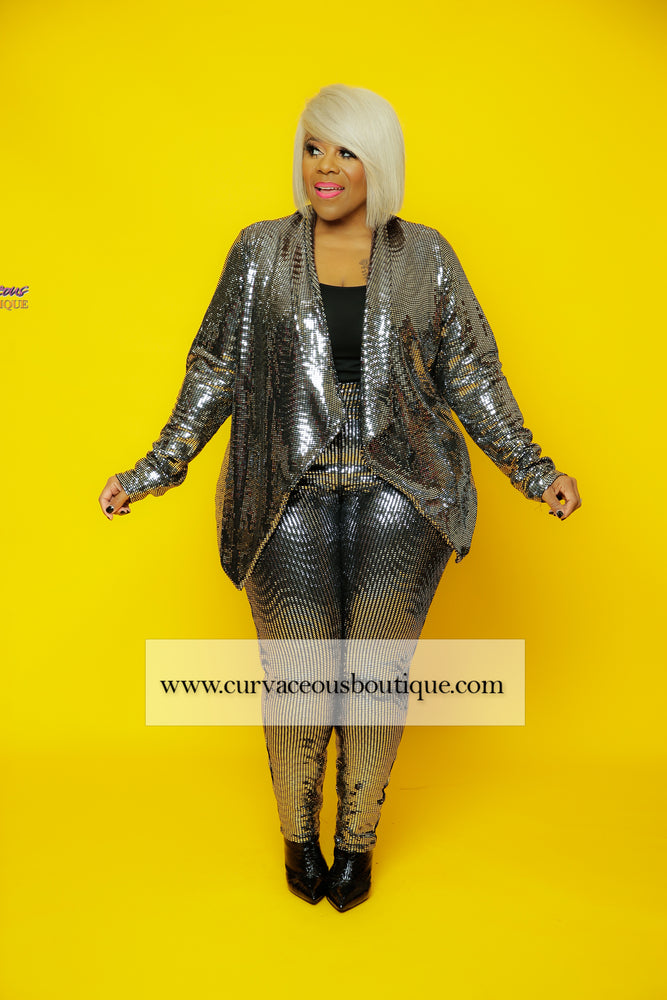Silver Metallic Legging Set