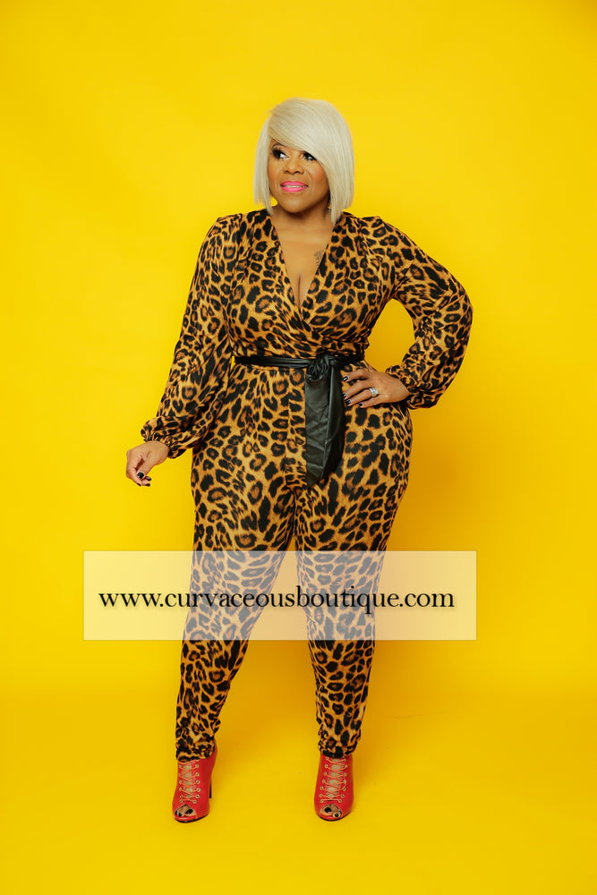 Animal Print Belt Jumpsuit