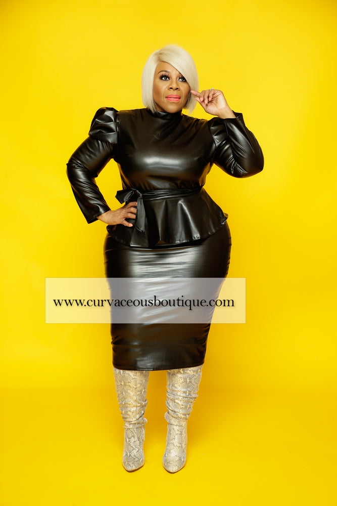 Sammie Faux Leather Skirt Set