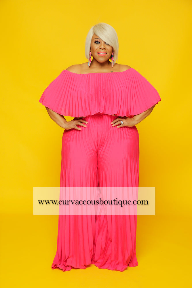 Pink Pleated Jumpsuit