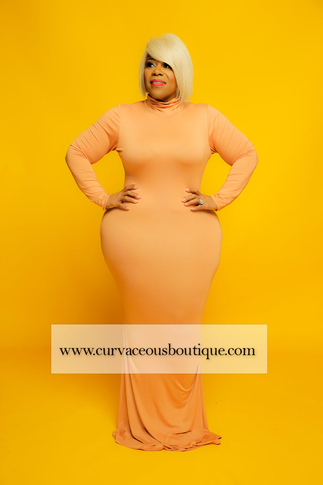 Peach Lala Turtleneck Maxi Dress