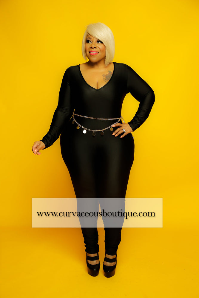 Black Leo Disco Catsuit