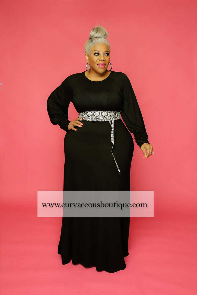 Black Halo Puff Sleee Dress