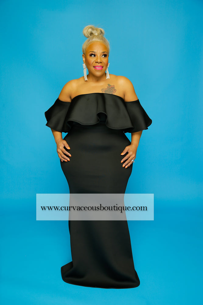 Black Charlene Tube Gown