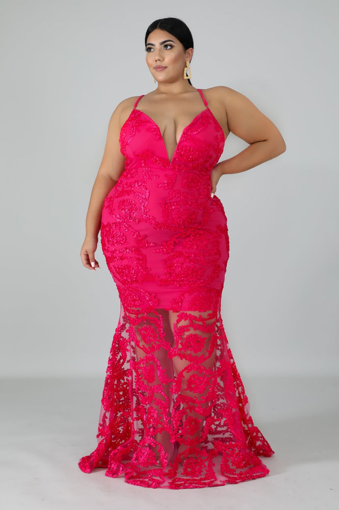 Pink Remington Swirl Mermaid Gown