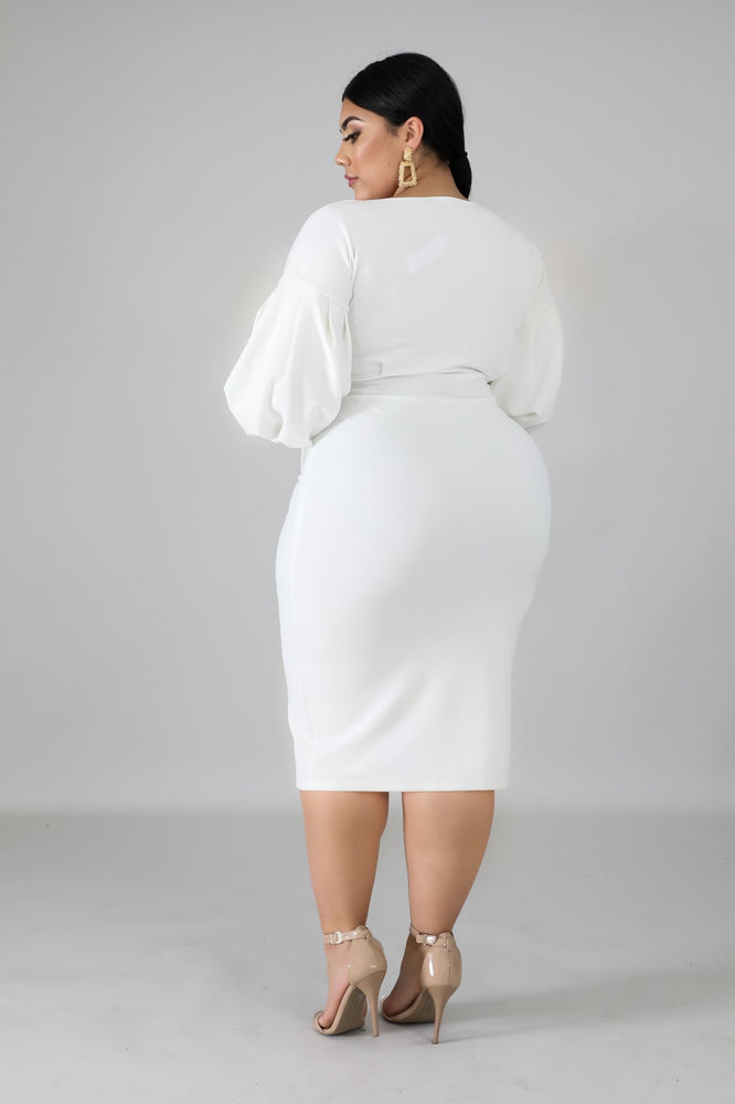 Ivory Puff Sleeves Dress