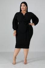 Black Puff Sleeves Dress