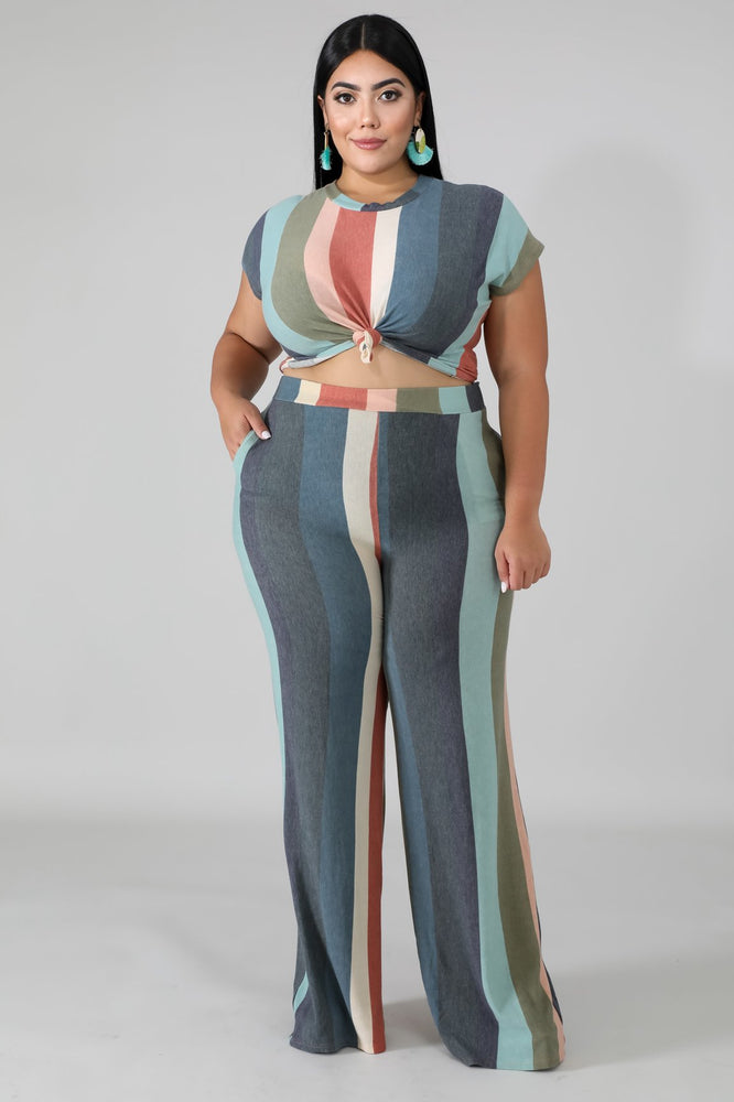 Charcoal Roxanne Stripe Pant Set