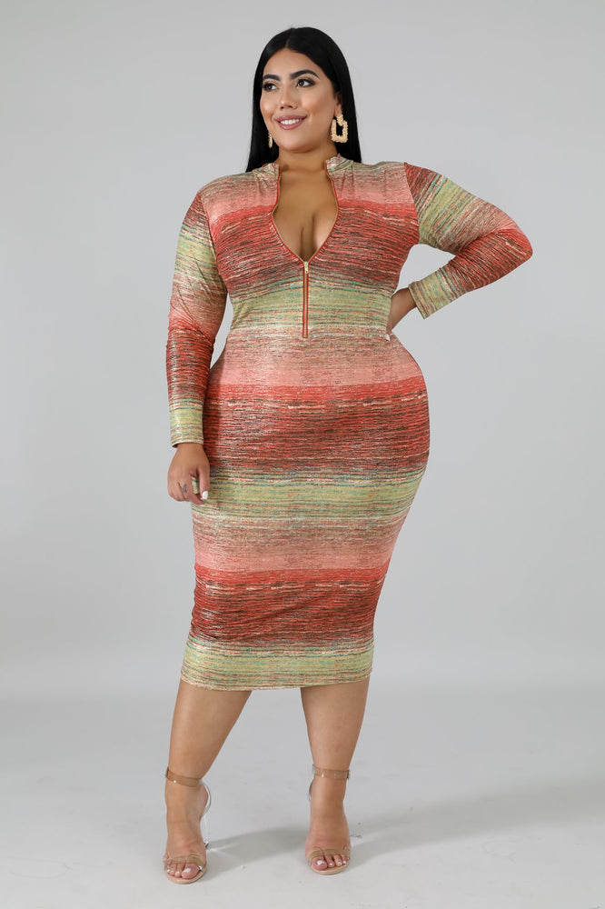 Pink Rusty Metallic Body-Con Dress