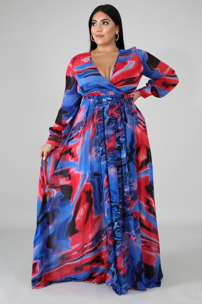 Blue Swirl Maxi Dress
