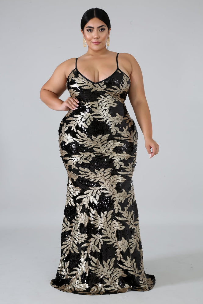 Black Addison Leaf Sequin Gown