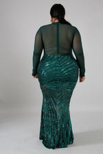 Green Haley Sequin Mermaid Dress