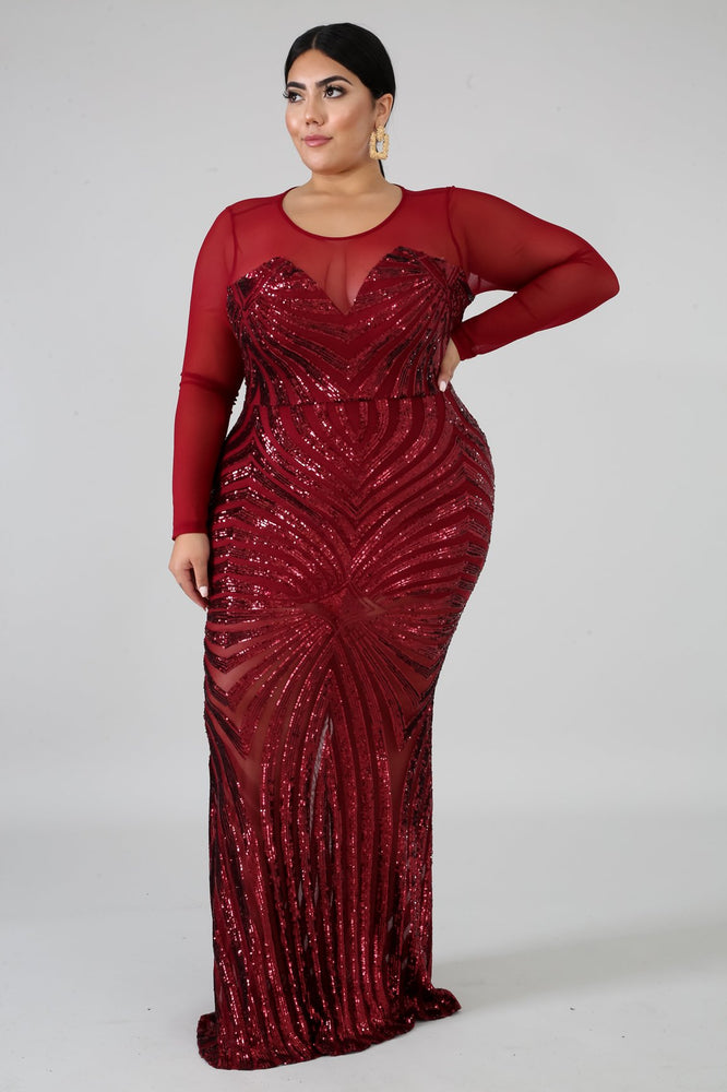 Burgundy Haley Sequin Mermaid Dress