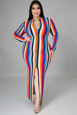 Stripe-Out Body-Con Dress