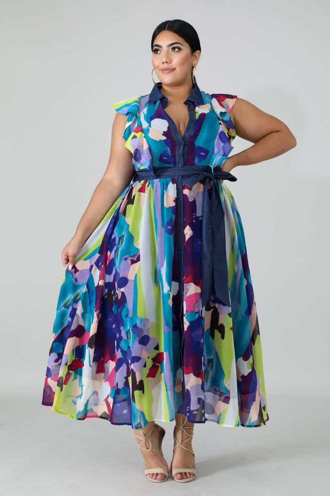 Mimi Paint Print Maxi Dress