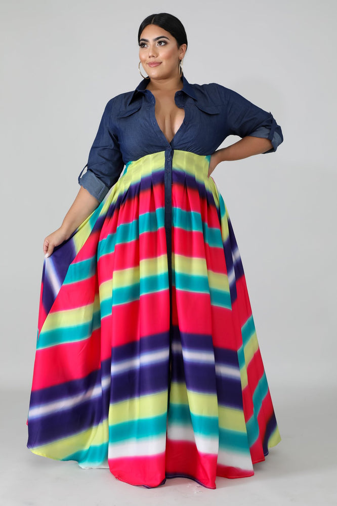 Rainbow Ravin Denim Chiffon Maxi Dress