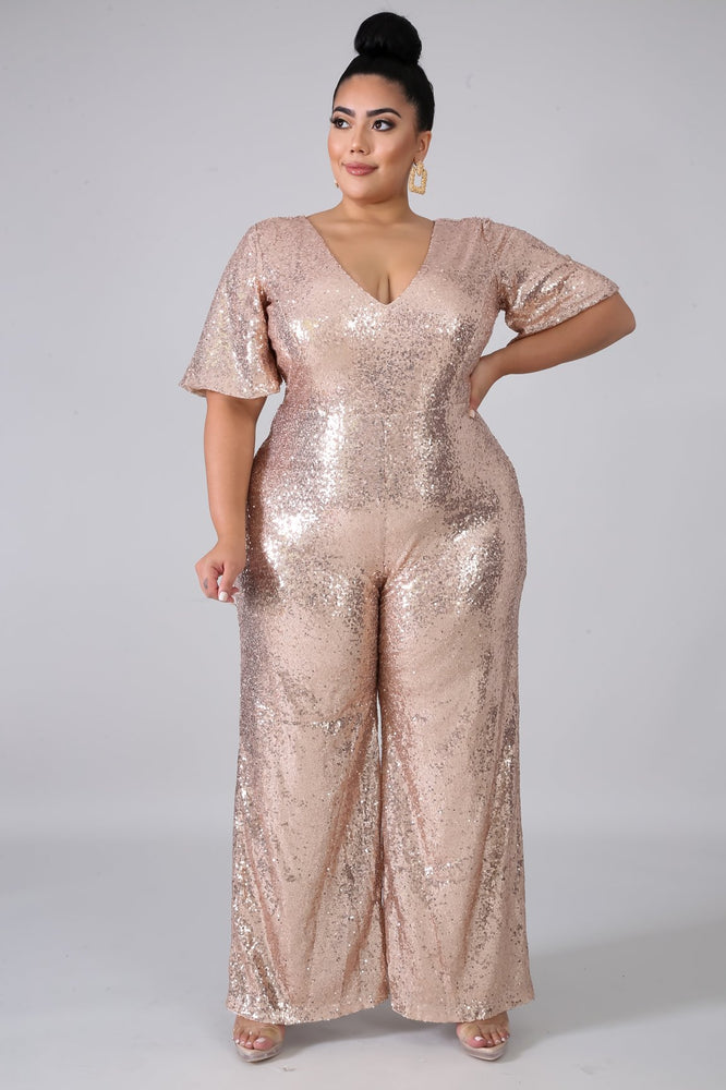 Gold Sequin Wide-Leg Jumpsuit
