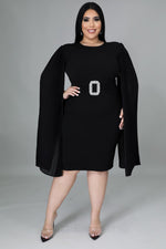 Black Pleated Sleeves Dress