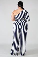 Kassy Navy Blue Stripe Jumpsuit