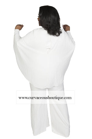 Nia Ivory Belted Cape Jumpsuit