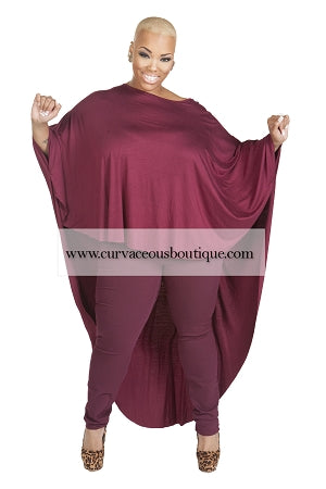 Burgundy Bat-Wing Top