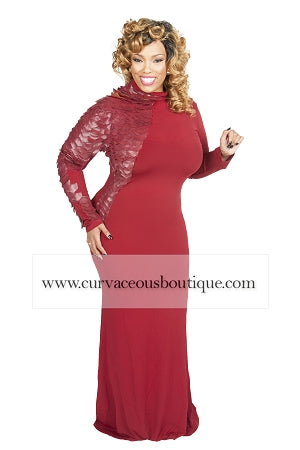 Rochelle Burgundy Scale Sleeve Maxi Dress